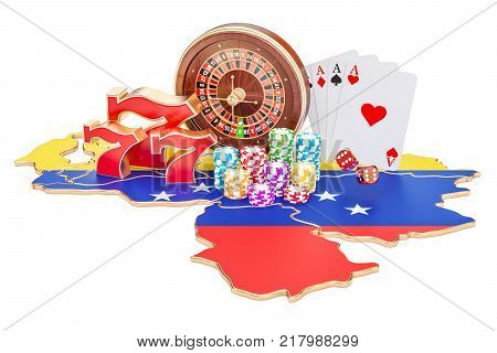 Casino and gambling industry in Venezuela concept 3D rendering isolated on white background