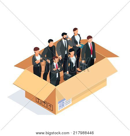 HR isometric concept. Set of managers in a box isolated on white background. Office workers packed in a cardboard box. Vector illustration.