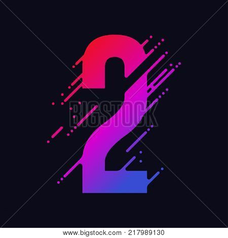 Number 2 with liquid splash and drops, abstract colorful digits, ink mathematic symbol, stylized numeral, dynamic paint trail font. Vector
