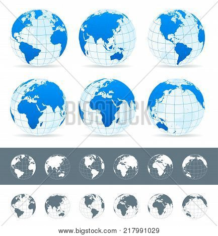World Map, Globes, Continents, Navigation Icons - Illustration
