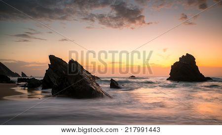 Adraga beach in Sintra. Beautiful and great rocks.