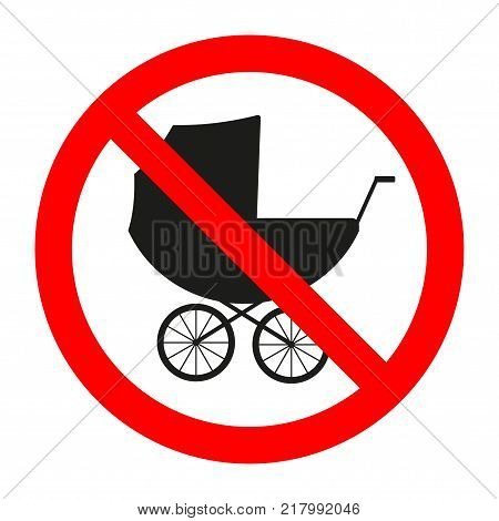 forbidden sign of a baby carriage on a white background