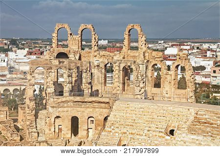 El Djem Amphitheatre in Tunisia. Part with arches of roman biggest amphitheater in africa