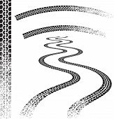 Set of high quality grunged tire tracks poster