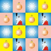Snowflakes Snowman and Christmas Balls in vintage colors scheme poster