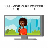 TV Correspondent Vector. Journalist Woman. TV Reporter Presenting News. Outside Broadcasting Cartoon Character Illustration poster