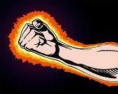 Fist of Power is an image of a fist clinched in rage or anger as if preparing to strike at any moment. Fist is surrounded by flames or fire as the anger and power builds within it. poster