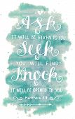Hand lettering Ask. Seek. Knock. Biblical background. Christian poster. Modern calligraphy Graphics Scripture Matthew Card poster