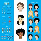 Woman character constructor vector set female face avatar creation head ears, lips, noses, eyes, eyebrows, hairdo. Asian African Americfacial girls facial elements construction illustration isolated. poster