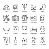 Hospital, medical flat line icons. Human organs, stomach, brain, flu, oncology, plastic surgery, psychology breast cancer Health care clinic thin linear signs poster