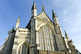 The beautiful Gothic style Winchester Cathedral one of the largest cathedrals in Europe