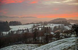 Winter sunset near Lukovica town in Slovenia