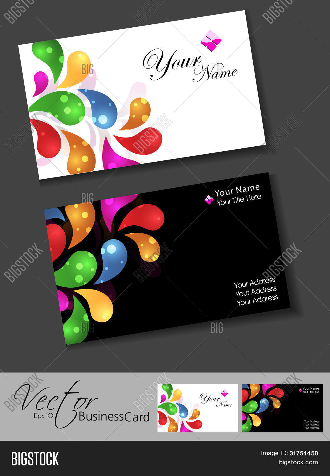 Professional business card set vector photo bigstock professional business card set template or visiting card set artistic abstract colorful floral reheart Gallery