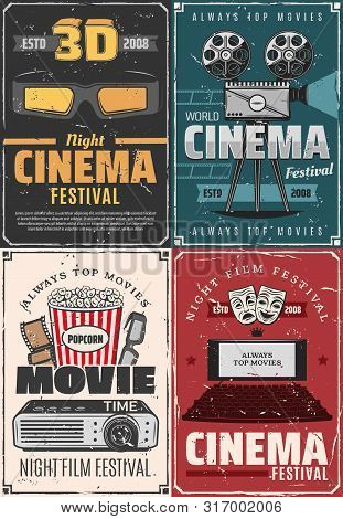 Film Festival, Cinema Theater Premiere Night And Movie Vintage Posters. Vector Cinematography Movie
