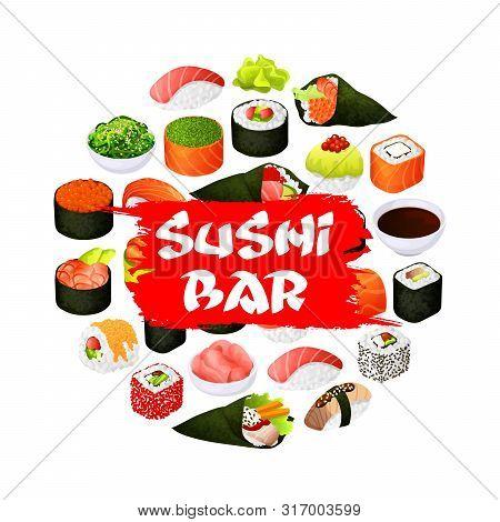 Sushi Bar Sign, Japanese Bar And Asian Restaurant Menu Poster. Vector Japan Food Fish Sushi And Seaf