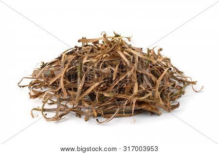 Pile of dried oak bark stripes isolated on the white