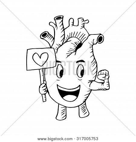 A Cartoon  Human Heart Character . Black And White.