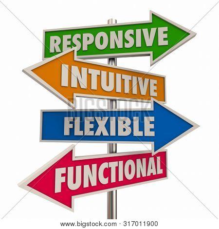 Responsive Intuitive Flexible Functional Design Arrow Signs 3d Illustration
