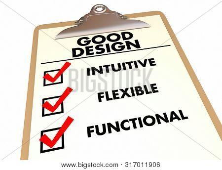 Good Design Intuitive Flexible Functional Checklist Clipboard 3d Illustration
