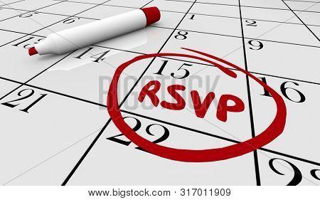 RSVP Date Day Circled Calendar Reserve Event Party Response 3d Illustration