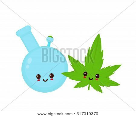 Happy cute smiling funny kawaii bong and marijuana cannabis leaf. Vector flat cartoon character illustration icon.Isolated on white background. Cute kawaii bong character,weed,marijuana,ganja concept poster