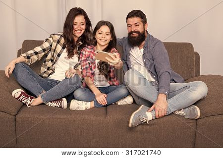 Capture Happy Moments. Family Spend Weekend Together. Use Smartphone For Selfie. Friendly Family Hav