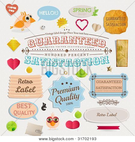 Speech bubbles and Guaranteed Labels set, birds and hearts. Old paper texture and vintage frames collection for invitation design.