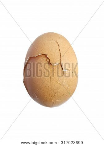 Top View Of Broken Egg Isolated On White Background, Copy Space, Vertical