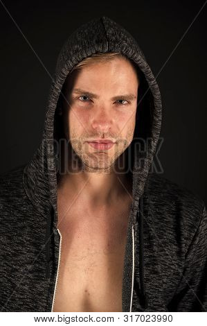 Guy In Hood Calm Face. Stylish And Modern Appearance. Well Groomed Macho. Perfect Style. Hair Groomi