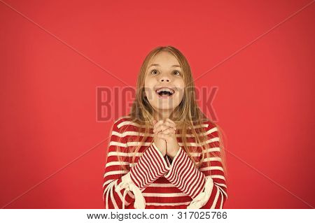 Make A Wish. Hope For The Best. Girl Hopeful Excited Face Making Wish. Believe In Miracle. Child Gir
