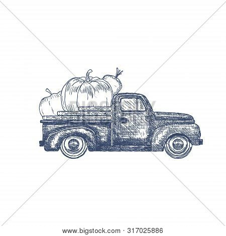 Hand Drawn Old Retro Pick-up Truck With Vegetables. Vector