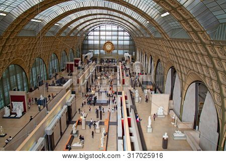 PARIS - FRANCE September 19, 2015: Main hall of the Orsay museum (Musee d'Orsay) in Paris, France. Museum is famous for it's collection of classical and modern art.