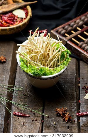 Fresh Bamboo Shoots In A White Ceramic Dish