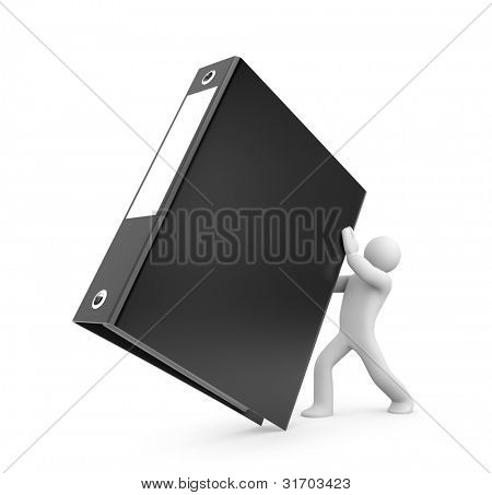3d person hold binder. Image contain clipping path