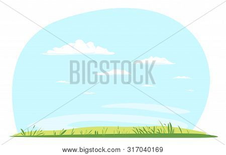 Green Lawn With Grass Against Blue Sky With White Clouds, Summer Sunny Glades With Field Grasses And