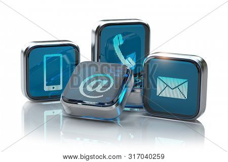 Signs of phone, mobile, letter and e-mail isolated on white. Contact us website page and internet concept.  Contact methods.  3d illustration
