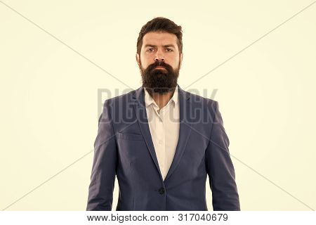 Ceo. Bearded Man Ceo With Serious Face. Mature Hipster With Beard. Male In Business Office. Business