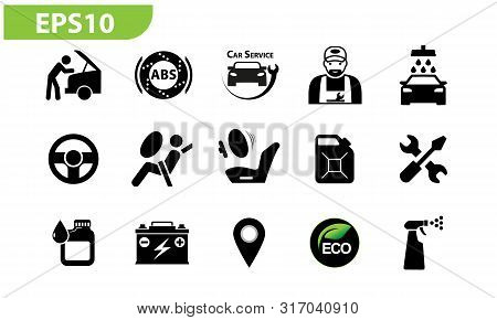Garage Set Icons Flat In Eps 10 Vector, Abs, Mechanic, Eco, Marker, Washing, Airbag, Tank