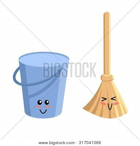 Emoji With Smile. Cleaning Service Elements In Kawaii Style. Bucket And Broom. Pail With Handle And