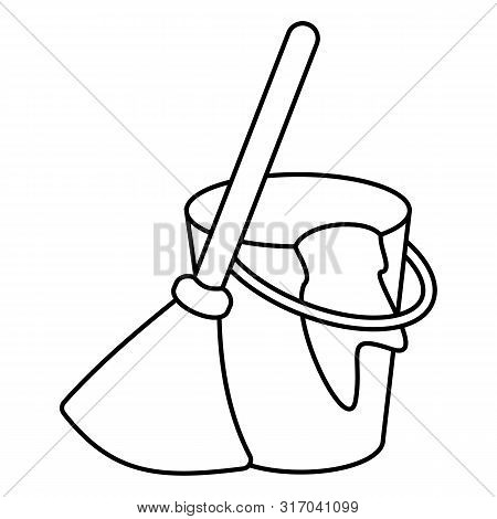 Besom With Stick And Pail With Handle And Rag. Silhouette Broom, Bucket And Glove Simple Line Vector