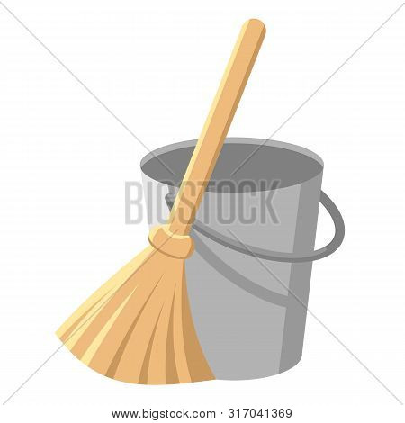 Pail With Handle And Besom With Stick. Bucket And Broom. Housework Tools For Cleaning Garbage. Clean