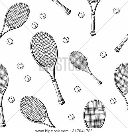 Tennis Background. Seamless Pattern Of Hand-drawn Black Sketch Style Tennis Racquet With Tennis Ball