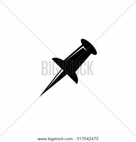 Push Pin, Pushpin, Attachment. Flat Vector Icon Illustration. Simple Black Symbol On White Backgroun