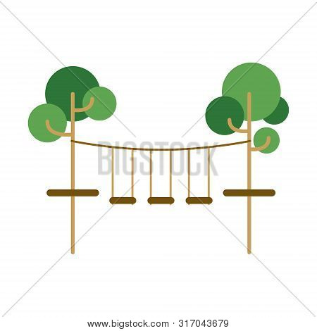 Kids Rope Park Or Children Playground. Summer Vacation Fun. Vector Holiday Illustration. Happy Famil