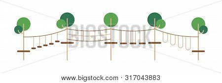 Children Rope Park. Extreme Adventure. Vector Design In Line, Flat Style. Holiday Leisure.