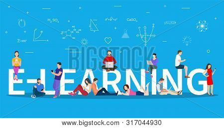 Distance Education Concept. Knowledge Online. E-learning Concept. Young People With Tablet Pc And La