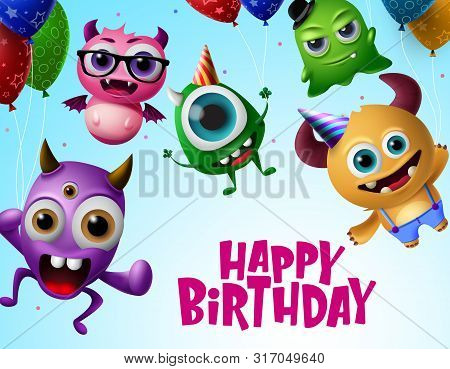 poster of Happy birthday with monster characters vector design. Happy birthday text in flying little monsters creature with colorful balloons and wearing party hats in blue background. Vector Illustration.