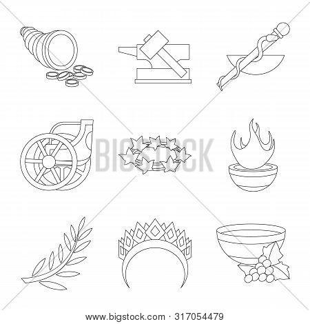 Isolated Object Of Mythology And God Sign. Set Of Mythology And Culture Stock Symbol For Web.