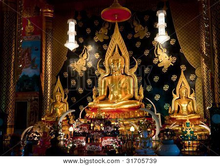 Beautiful Golden Buddha in Buddhist temple, Thailand poster