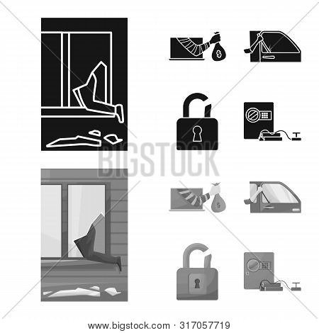 Vector Illustration Of Crime And Steal Symbol. Collection Of Crime And Villain Vector Icon For Stock